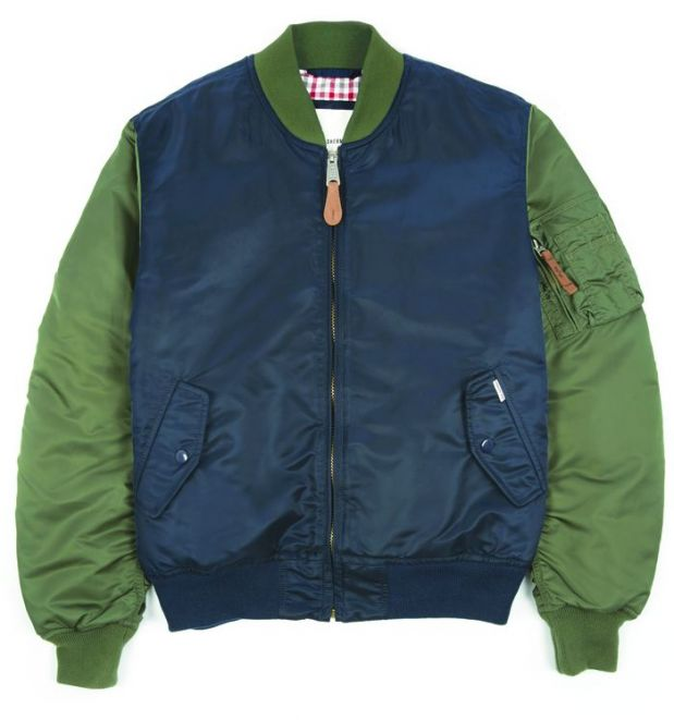 One of the MA-1 bomber jacket variants, in grey-green and navy blue