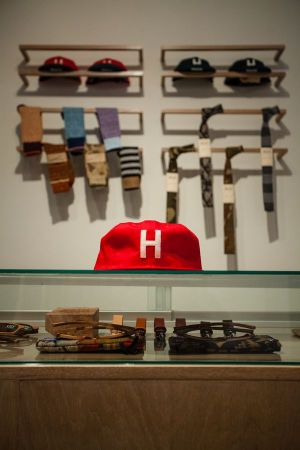 """Our number one seller is the custom ""H"" (Houston) baseball caps made for us by Ebbets Field Flannels"""