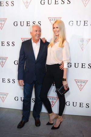 Paul Marciano and Claudia Schiffer during the opening ceremony of the new Russian Guess showroom and head office