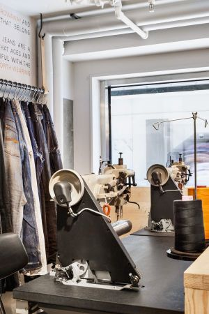 Repair station within the new Nudie Jeans shop in Gothenburg