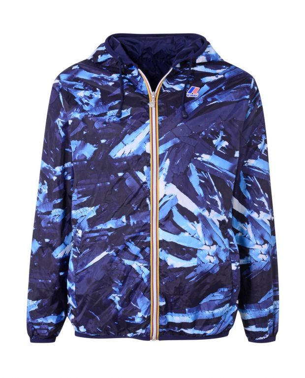 Reversible hooded jacket with a blue print, also part of the collection