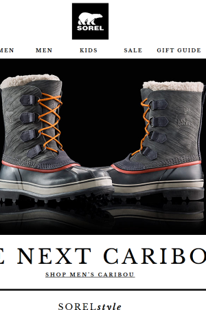 Screenshot from the Sorel website