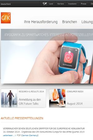 Screenshot of the Gfk website