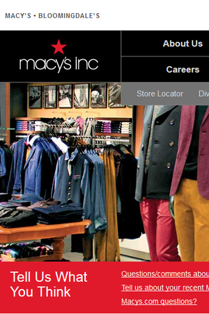 Screenshot of the Macy's, Inc. website