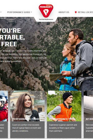 Screenshot of the PrimaLoft website