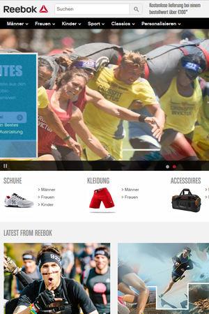 Screenshot of the Reebok website