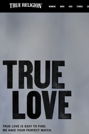 Screenshot of the True Religion website