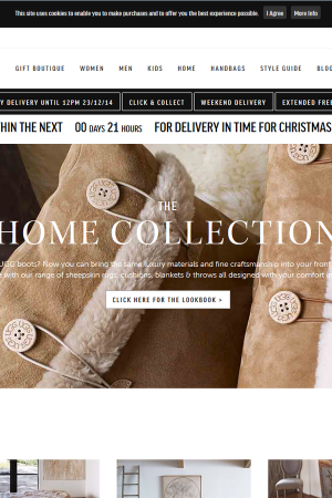 Screenshot of the Ugg website