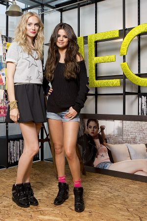Selena Gomez with model wearing pieces of her new collection