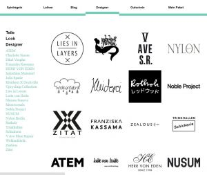 Selection of brands that Kleiderei.com is offering