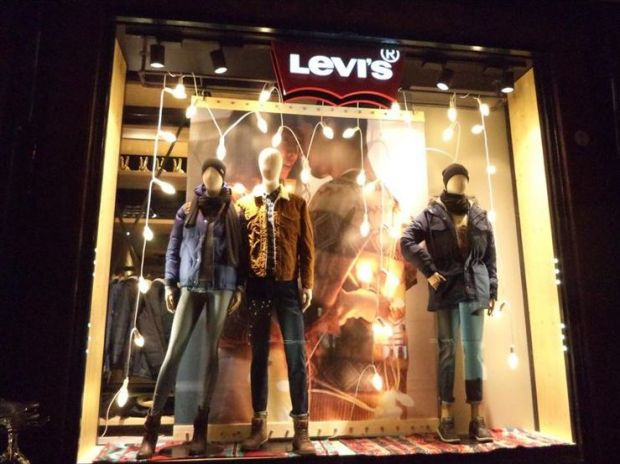 Shopping window of the new Levi's shop in Bologna
