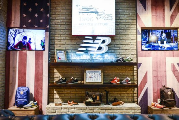 Sneaker wall inside the new store