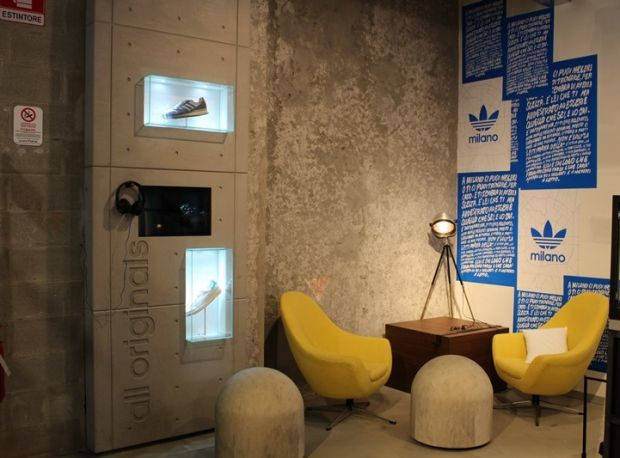 Social area in the Adidas flagship store in Milan