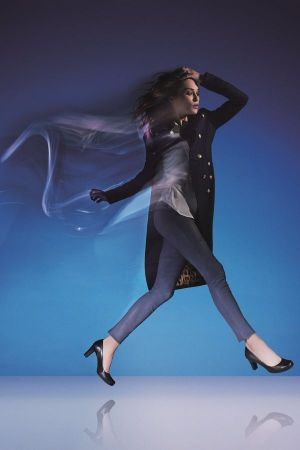 Supermodel Erin Wasson modeling the Rockport Total Motion Pump