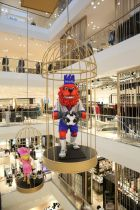 The store decoration at the opening celebrated a local mascot