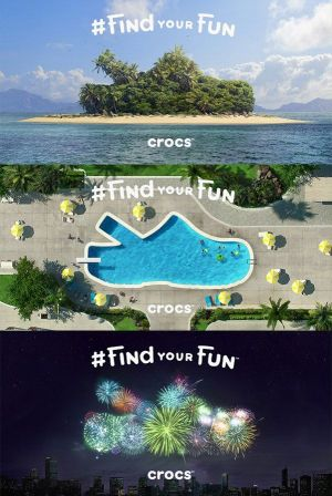 Three of the Crocs campaign motives