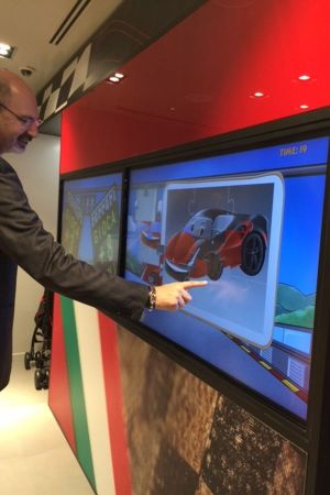 Touchscreen at the new Ferrari store in Milan