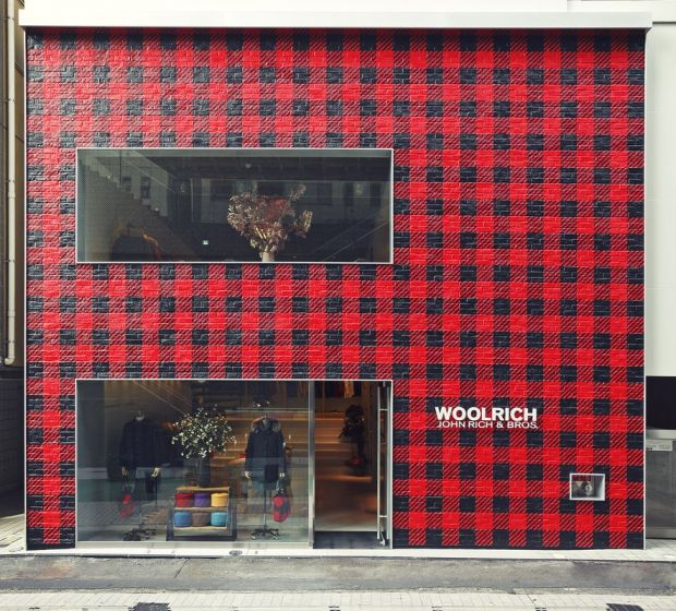 View of the impressive exterior of the Woolrich flagship in Tokyo