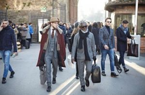 Visitors at Pitti Uomo yesterday