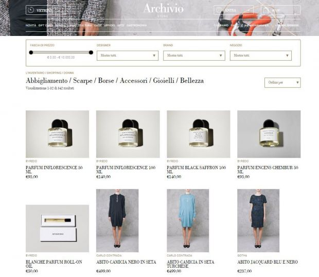 Women's product range in the Archiviostore webshop