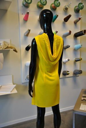 Yellow knitted dress made exclusively from recycled cotton