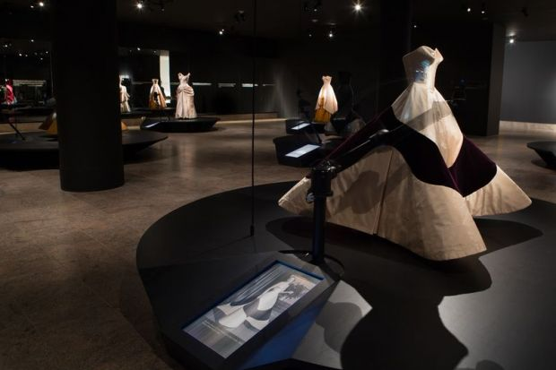 the first floor gallery showcases James' dramatic ball gowns