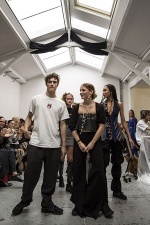 Pierre Kaczmarek (left) after the Afterhomework(Paris) SS17 presentation.