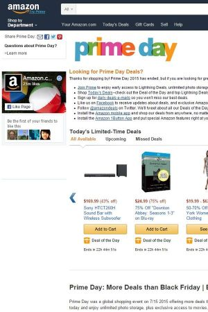 Amazon prime day homepage
