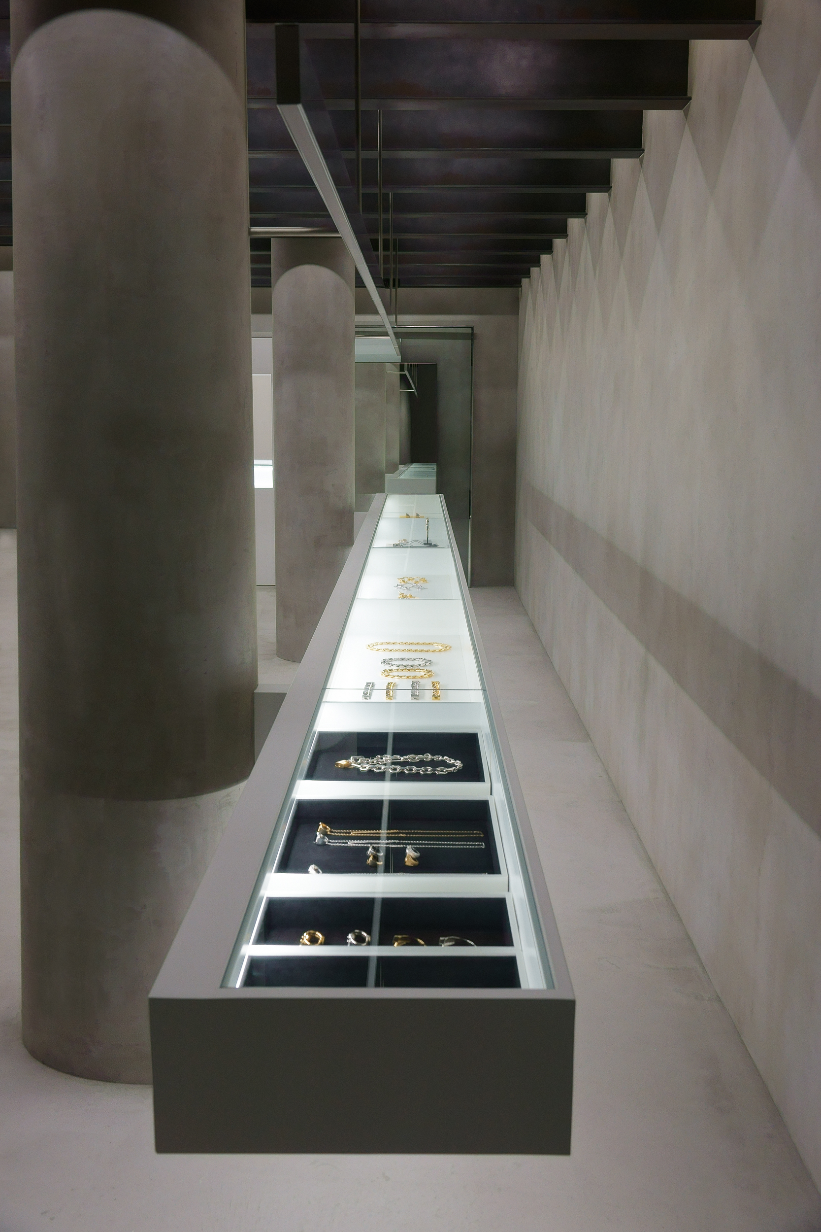 Ambush jewelry display within the brand store.