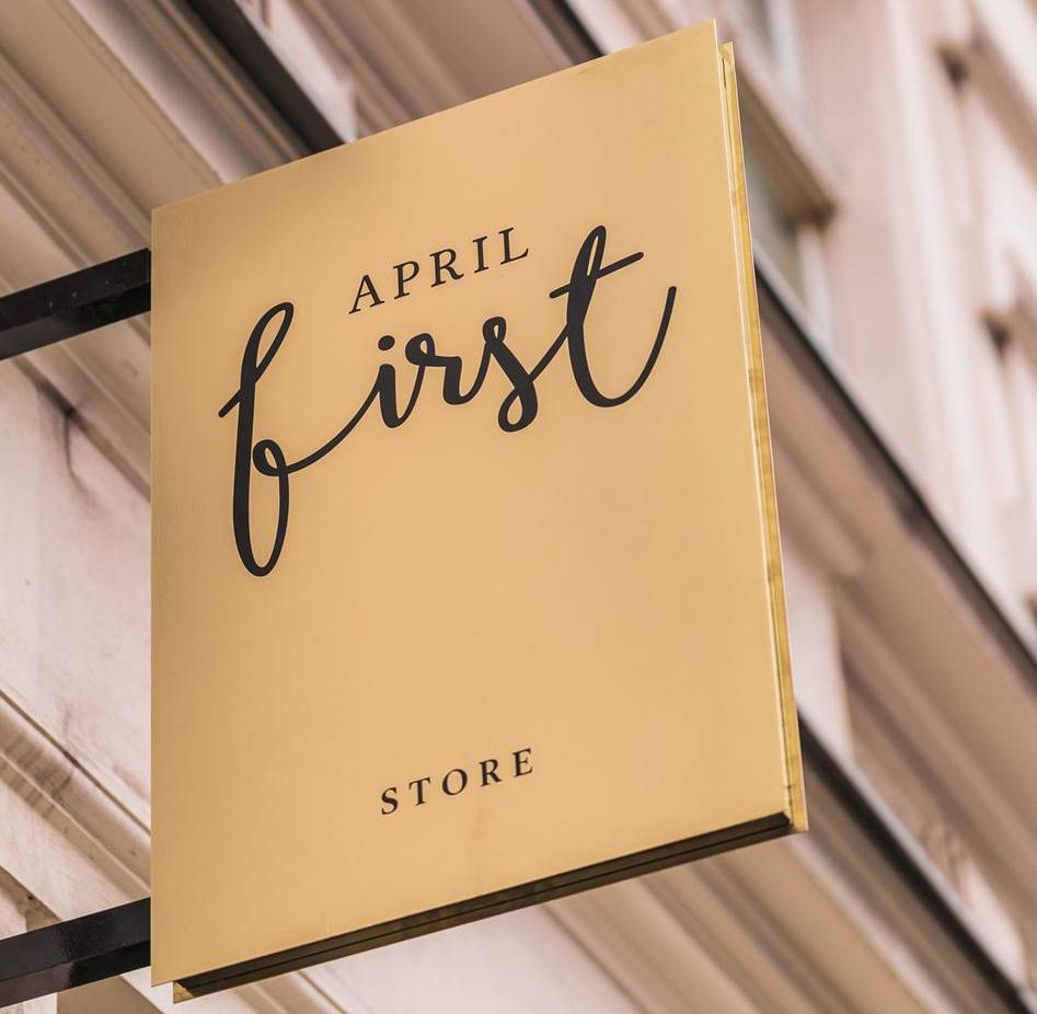 April First store sign.
