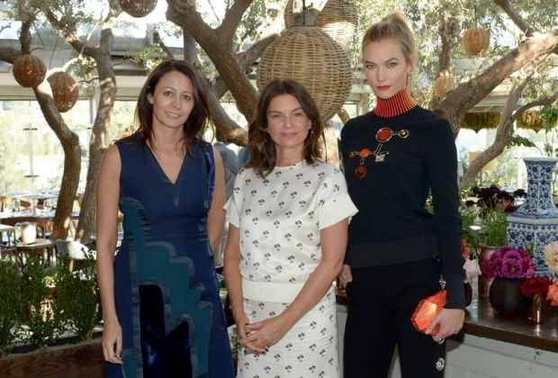 From left to right: Caroline Rush (BFC CEO), Natalie Massenet (BFC Chairman) and model Karlie Kloss, ambassador for the event's partner Swarovski.