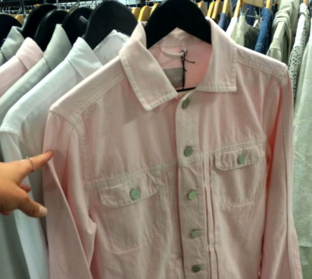 Baby pink denim jacket by Waven