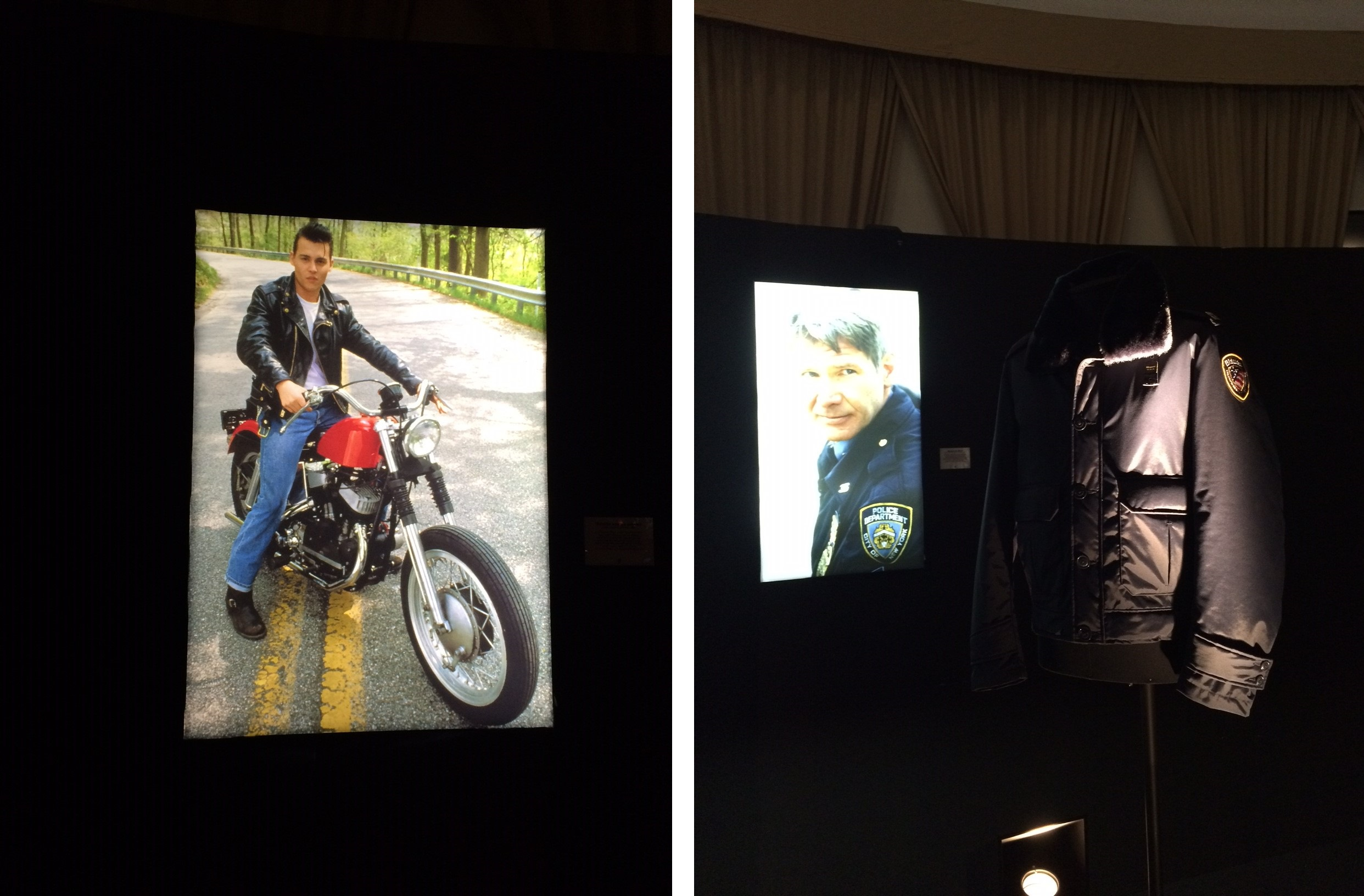 The exhibition showcased famous actors wearing historical Blauer USA pieces in Hollywood movies.