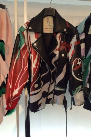 Bold print biker leather jacket from Rolling Acid, seen at White