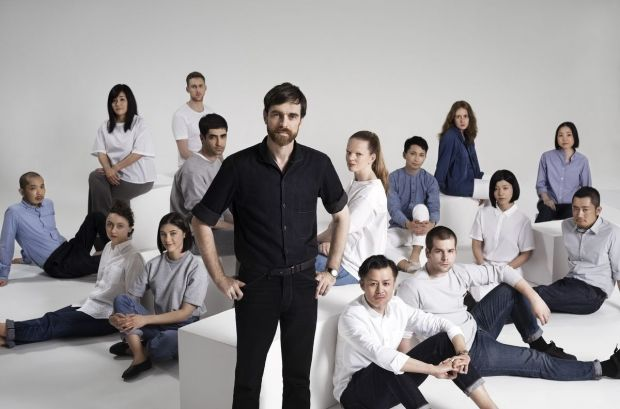 Christophe Lemaire with the Uniqlo Paris R&D center team.