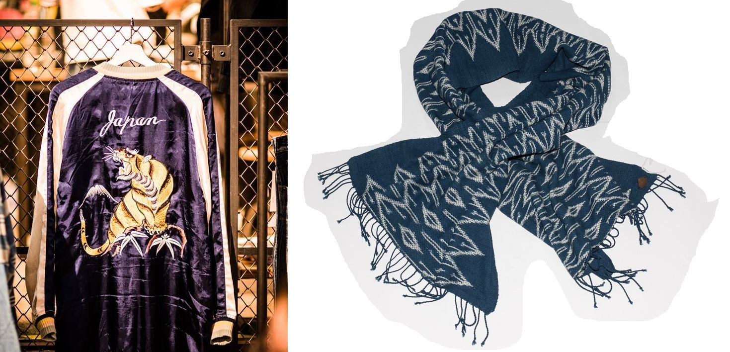 From left to right: Sukajan souvenir jacket by Soulive and scarf by Indigo People.