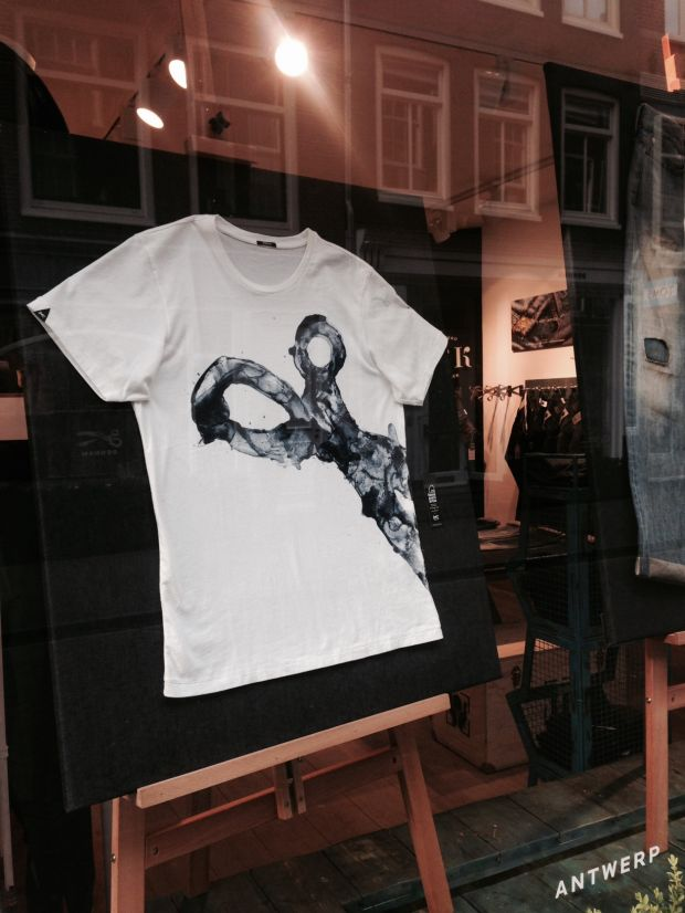 Denham Shopping Window promoting Indigo Artisan, a collab with Juan Manual Gomez