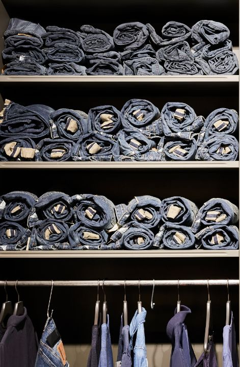 Denim shelves in the Hamburg store