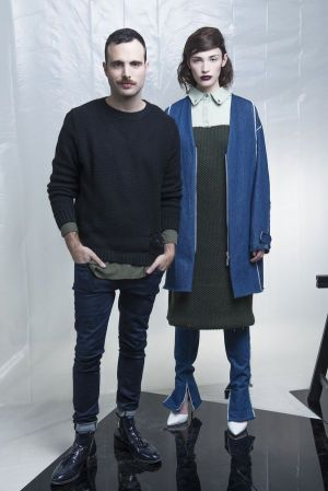 Designer Daniel Silverstain and model, by Nir Arieli