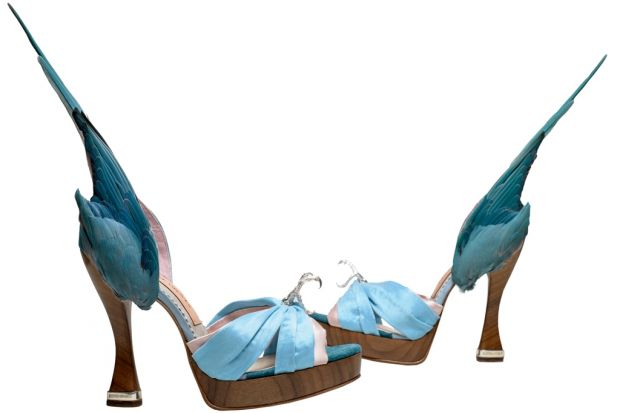 From the exhibition: Caroline Groves, Parakeet shoes from 1959 (photo: Dan Lowe)
