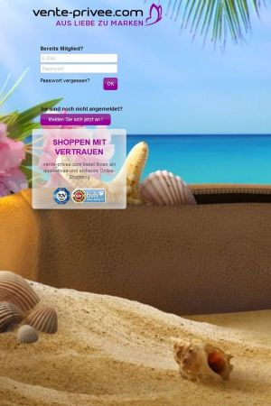 German homepage of Vente Privée