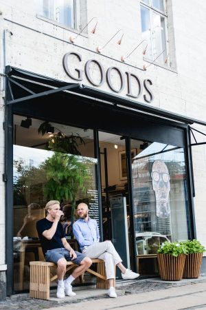 Goods storefront. Sitting on the right side: owner Kasper Hostrup