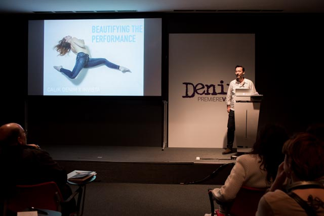 On stage: Hamit Yenici, general manager at Calik Denim during a seminar at Denim PV.
