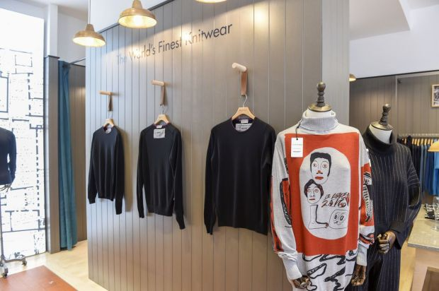 John Smedley x Alex james collaboration sweaters