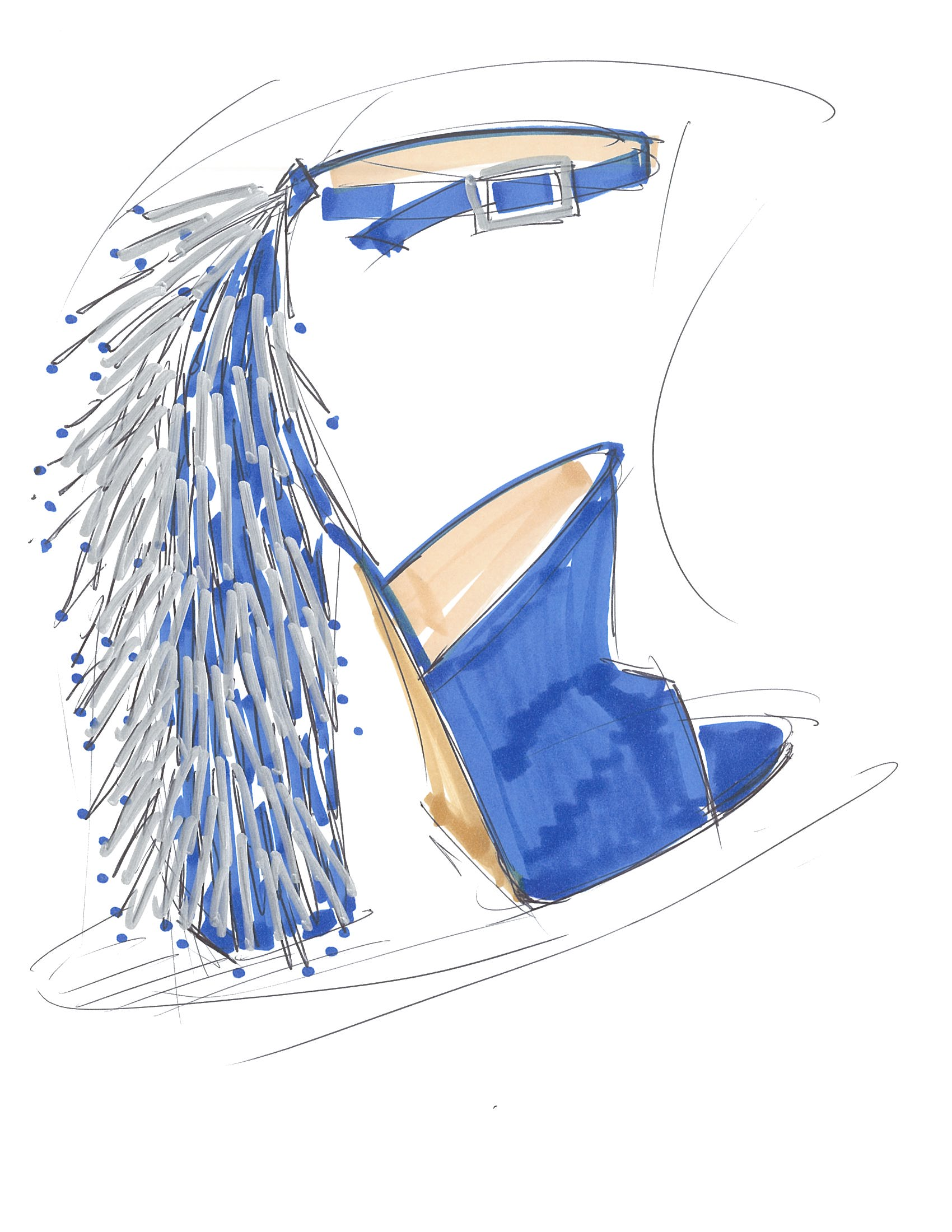Shoe sketch from Katy Perry's footwear collection.