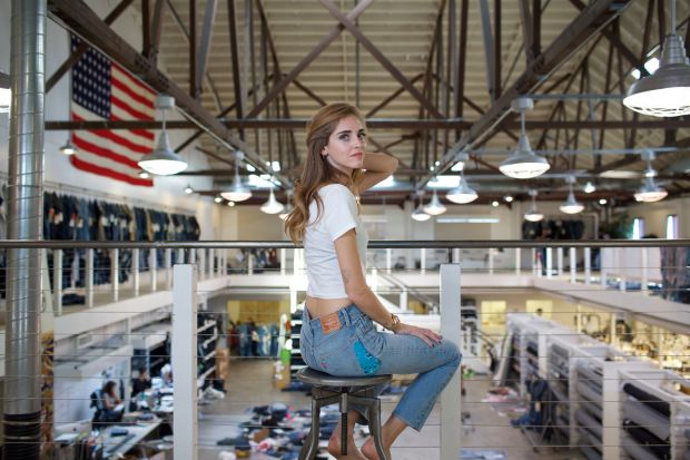 Chiara Ferragni wearing Levi's jeans at the brand's Eureka Innovation Lab in San Francisco, US.