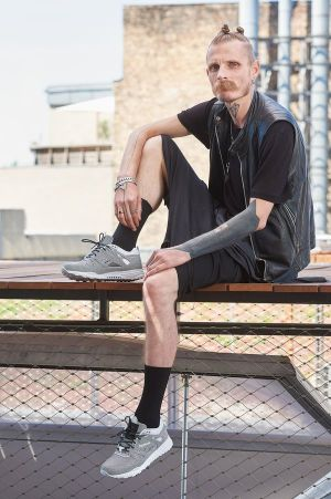 Patrick Mohr in the latest Ventilator sneaker he designed for Reebok Classics