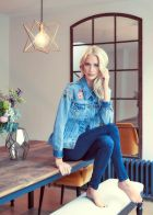 Poppy Delevingne wearing one of her designs for Levi's.