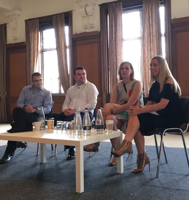 from left to right: Nick Everitt, Planet Retail; Michael Clarke, DeHavilland; Petah Marian, Retail Intelligence, WGSN; Keely Stocker, Editor of Drapers