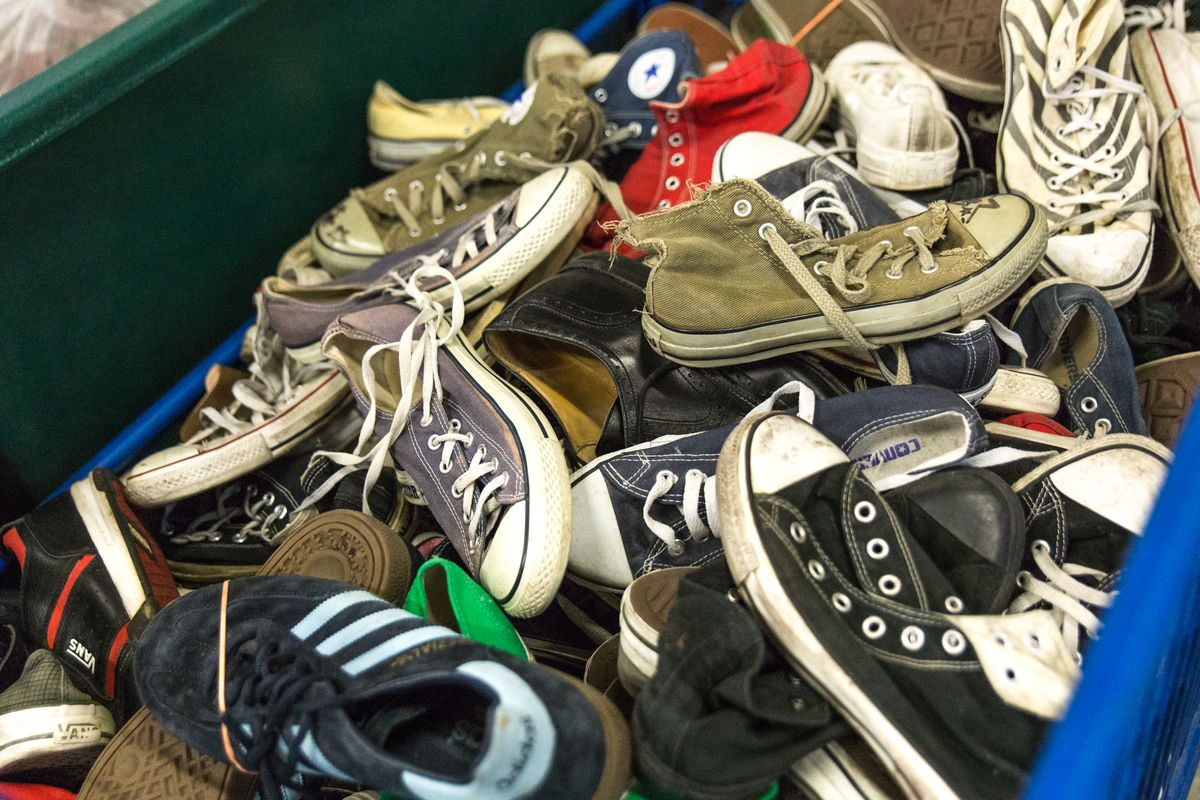 Old Converse Chuck-Taylors at the Eureka Fripe warehouse.
